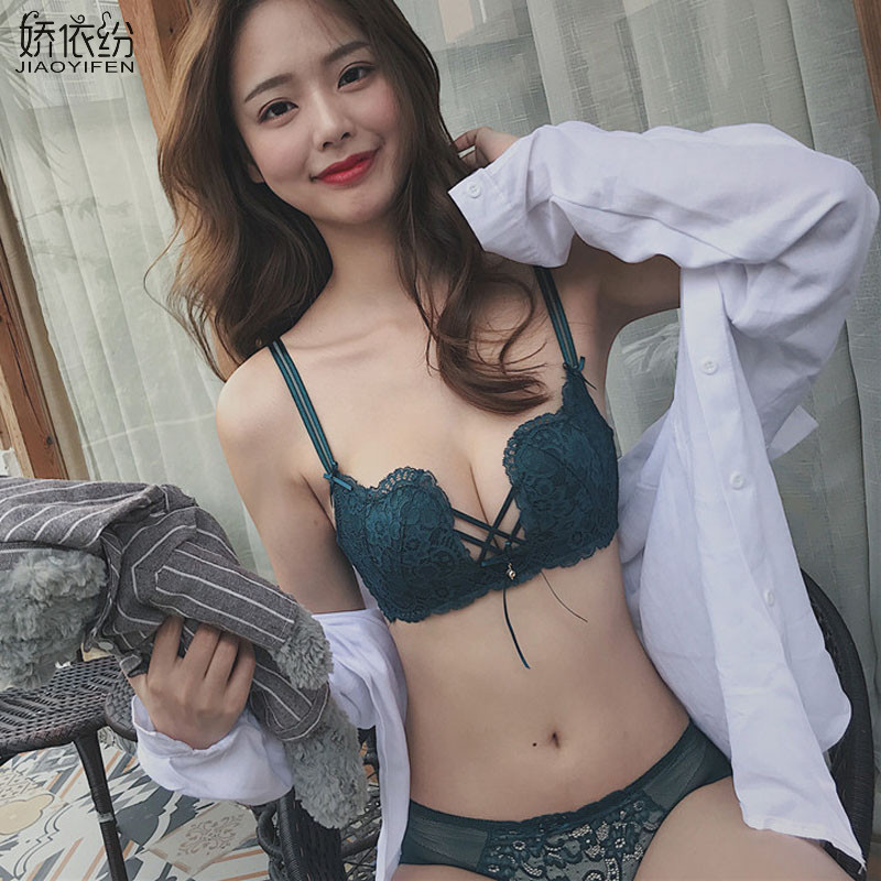 Fashion Lace Sexy W Cup Underwear Comfortable Breathable Shrink Line Push Up   Bra     Set   Small Chest Women   Bra   and Panty   Sets