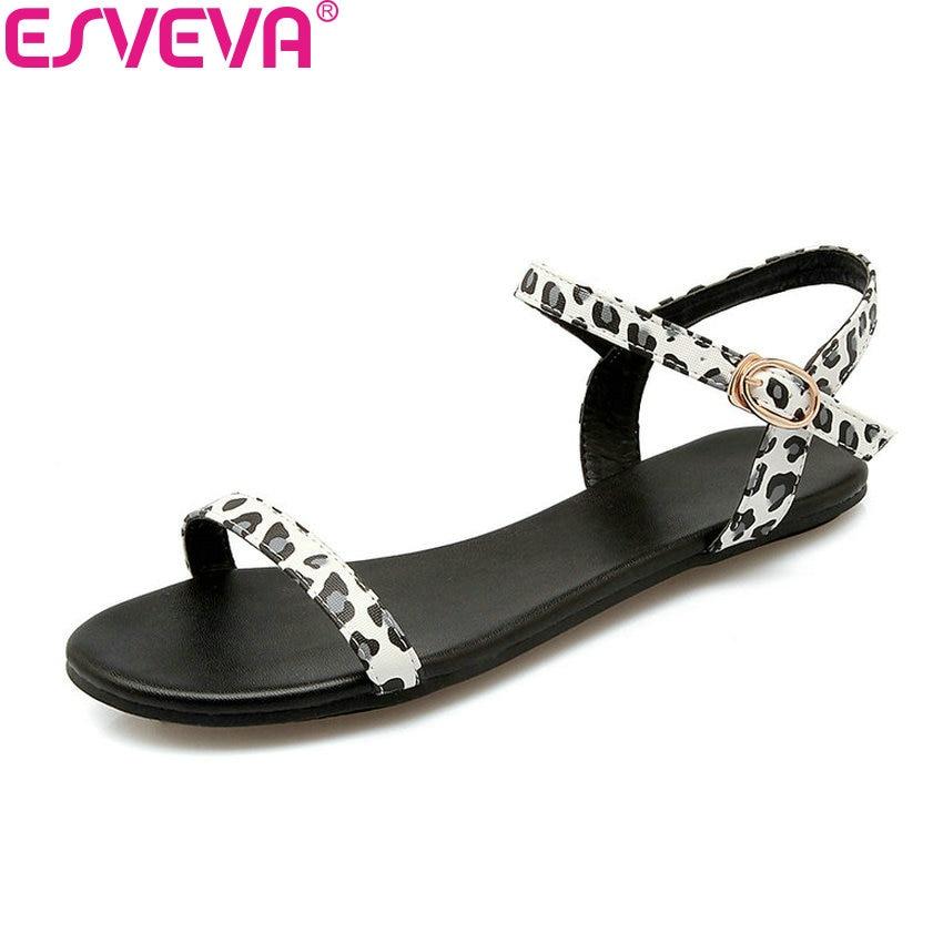 Zuversichtlich Esveva 2018 Leopard Schuhe Frauen Sandalen Sommer Schnalle Concise Pu Sandalen Niedrigen Heels Einfache Mode Frauen Schuhe Größe 34-43 Herrenschuhe