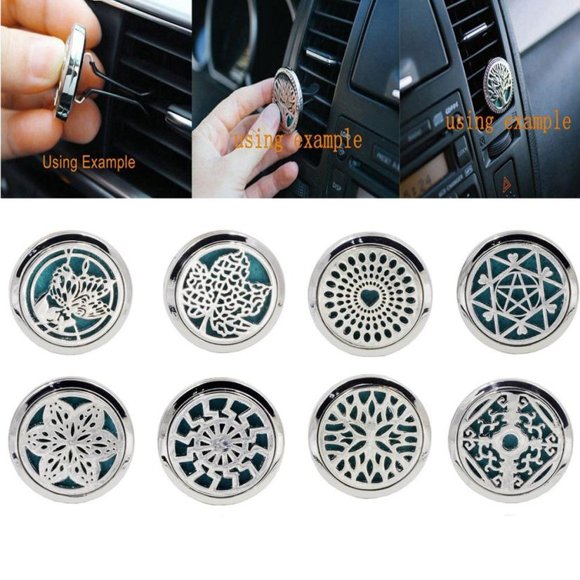 10 Patterns Perfume Folder Stainless Car Air Vent Freshener Essential Oil Diffuser Locket Pasta De Perfume