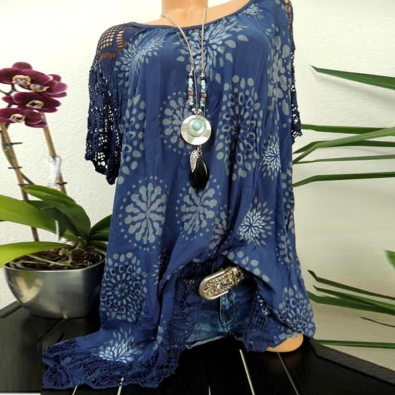 Plus Size S-5XL Tops Summer Lace Women Blouse Patchwork Floral Printed Batwing Short Sleeve Shirt 2018 Tunic Blusas Feminina#ghc 3