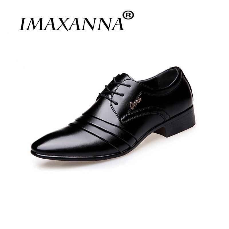 ad64fcd24 IMAXANNA عالية جودة العلامة التجارية الرجال أحذية من الجلد الرجال اللباس  الأزياء والأحذية الأعمال الرجال الزفاف
