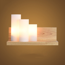 Modern Lights Loft Glass Oak Wood LED Wall Lamps Lights Bedroom Bedside Study Room Home Lighting Wall Lights Sconce Solid Wooden