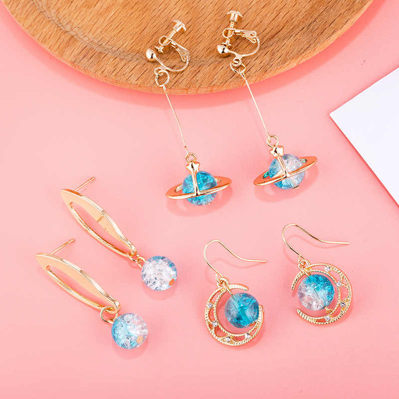 JCYMONG New Design Blue Glass Round Ball Planet Earrings Fashion Gold Color Metal Crystal Drop Dangle Earrings For Women Jewelry