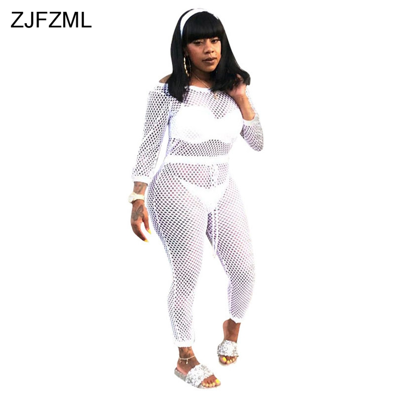 ZJFZML Slash Neck Sexy Romper Womens Jumpsuit White Full Sleeve Off Shoulder One Piece Overall Casual Black Hollow Long Bodysuit