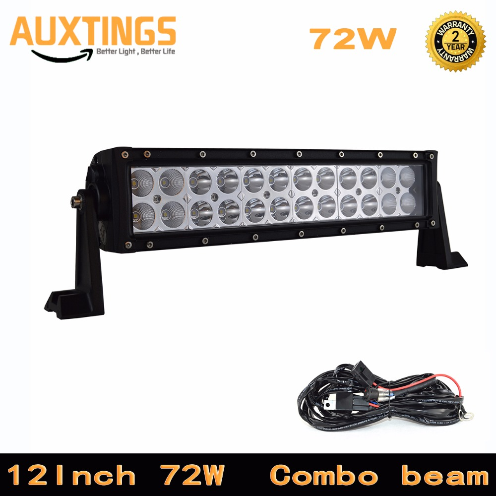 FREE SHIPPING double row LED 12 INCH 72W watt COMBO led light bar with electrical wiring
