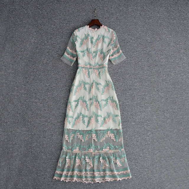 Short Sleeve Gauze Embroidery Long Dress