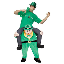 Green ELF Goblin Pants Oktoberfest Cosplay Costumes Ride On Me Mascot Carry Back Clothes Halloween Christmas Fancy Party Dress
