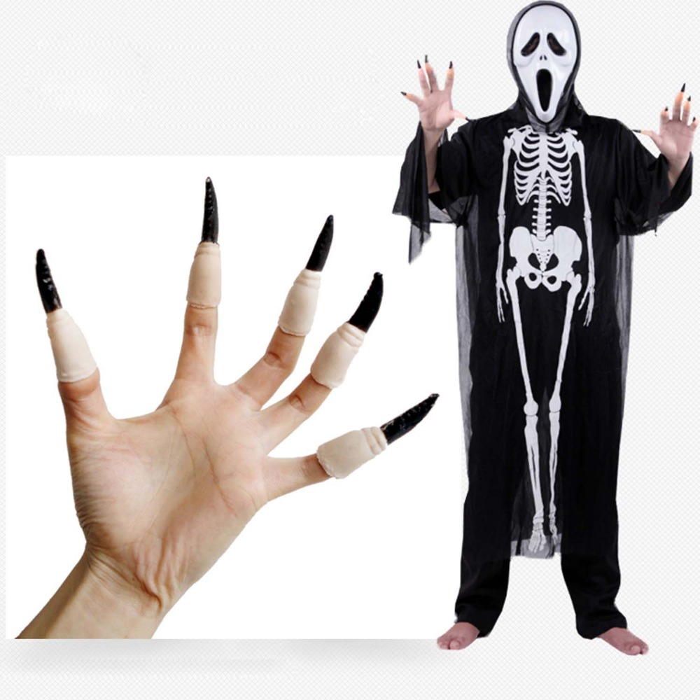 Set of 10pcs Halloween Party Supplies Witch Zombie Props False Nail ...