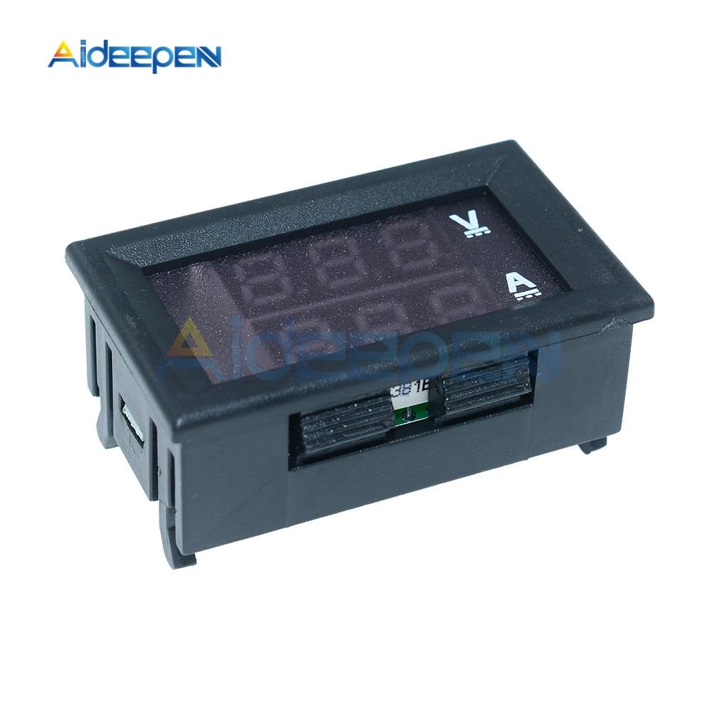 """Mini Digital Voltmeter Ammeter DC 100V 10A Voltmeter Current Meter Tester 0.28"""" 0.28 inch Blue+Red LED Amp Dual LED Display 7"""