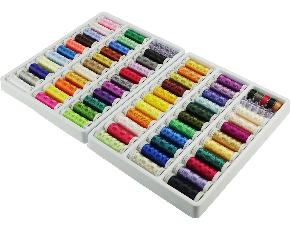 SIMTHREAD NEW ARRIVAL 300M spool 63 Brother Colors Polyester Embroidery Machine Thread Bobbins