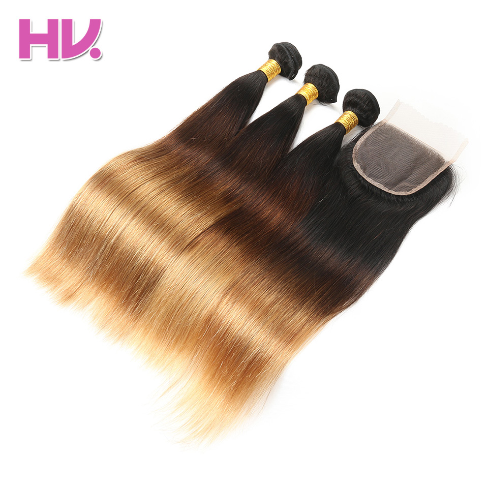 Villa Ombre Cabelo Liso Brasileira Com Fechamento do cabelo # 1b/4/27 4*4 Remy Humano Ombre Feixes de cabelo com Fecho de Renda para Salão de Beleza