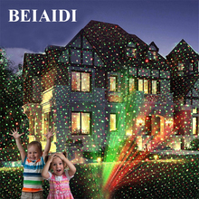 BEIAIDI Outdoor R&G Laser Projector Lamp Full Sky Star Christmas Laser Show Landscape Xmas Garden Party Disco DJ LED Stage Light