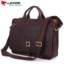 LEXEB Brand Vintage Men's Briefcases Solid Genuine Leather Office Bag 15.6 Inch Laptop High Quality Fashion Casual Tote Brown