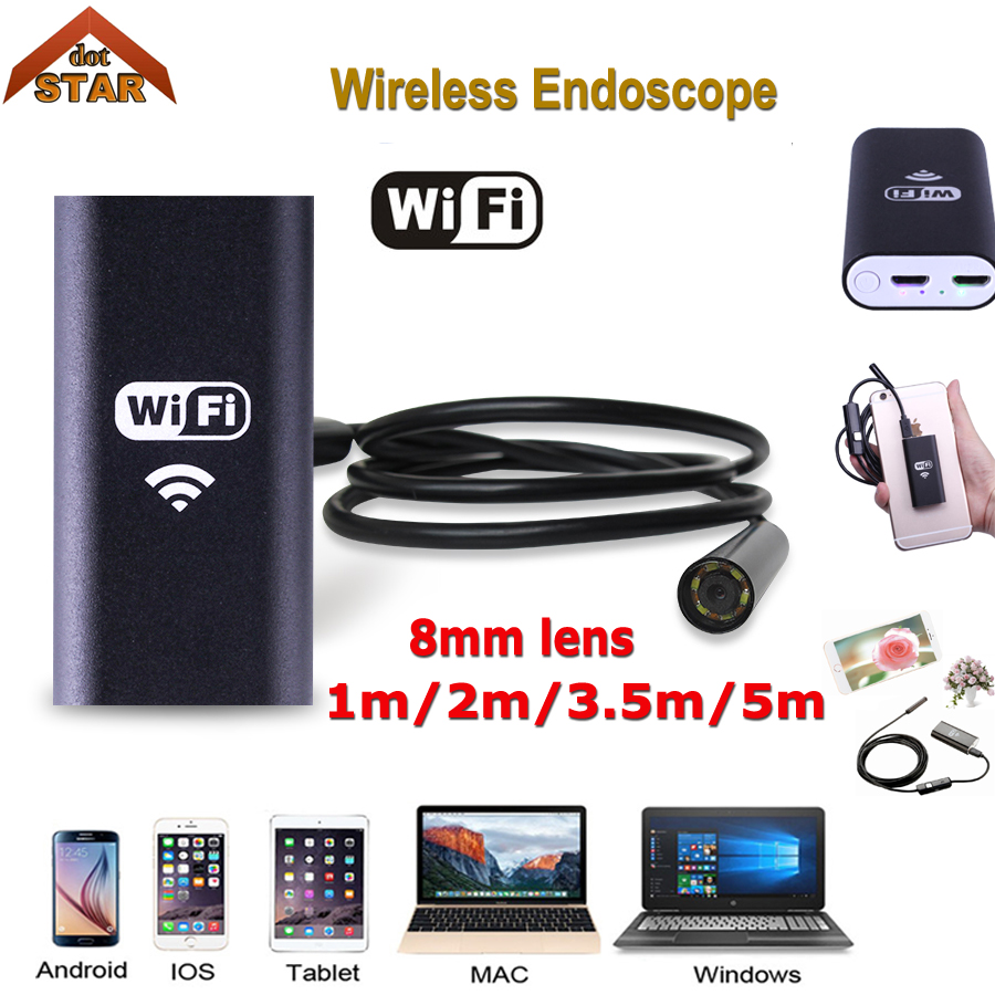 Stardot HD 720P 8mm WIFI Endoscope Camera 5M 3.5M 2M 1M Snake USB Iphone Android Borescope IOS Wireless USB Borescope Camera