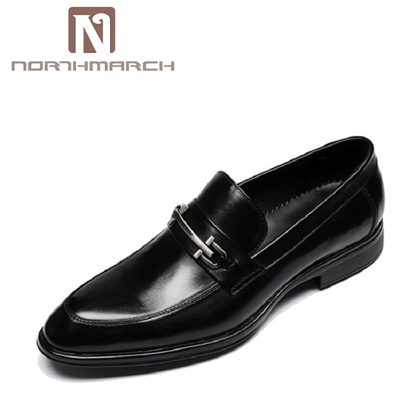 NORTHMARCH Men Oxfords Handsome Comfortable Brand Cowhide Leather Men Dress Shoes Men Business Black Loafer Mocassin Homme