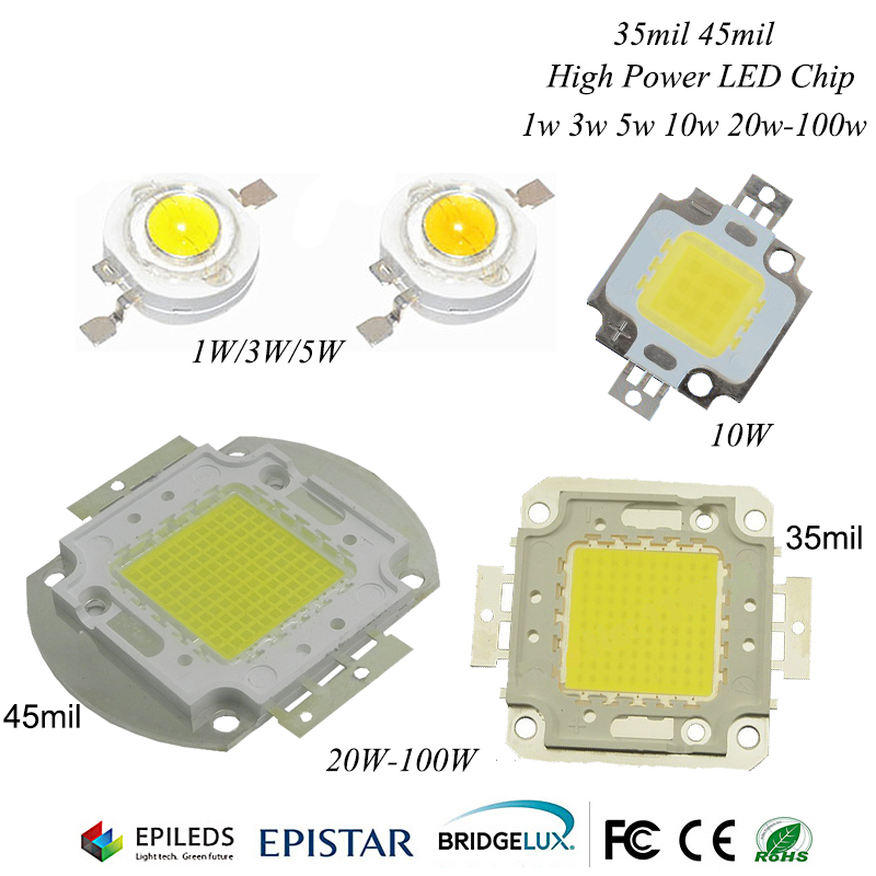 10W/20W/30W/50W/100W LED Light Beads High Power Lamp Floodlight Warm White/White Epistar 35mil 45mil Chips Free Shipping
