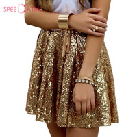 Shinning Bir Çizgi Lady Altın Sequins Kısa Mini Parti Etekler Dökümlü Moda Doğal Bling Bling Kadınlar Etekler Yaz SPEEDATING
