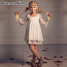 2-13Y New Children White Blue Wedding Lace Dress For Baby Girls Performs Birthday Three Quarter Sleeve Princess Dresses