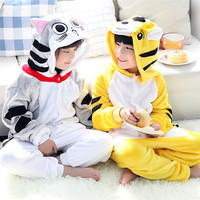 Autumn Winter Children Flannel Animal Pajamas Funny Animal Cat Pajamas Kid Onesie Sleepwear Long Sleeve Warm
