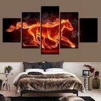 벽 예술 캔버스 그림 거실 인쇄 5 추상화 화재 말 홈 장식 불타는 동물 포스