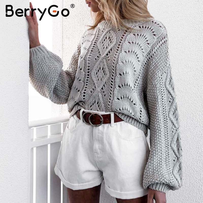 BerryGo Hollow Out Knitted Sweater Women Lantern Sleeve Female Autumn Pullover Sweaters O-neck Winter Casual Ladies Jumpers 2019