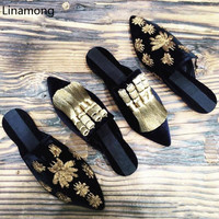 Pre Fall Women Flat Heels Sandals European Style Beading Decorated Home Slides Fur Slippers Slip on Sandalias Mujer