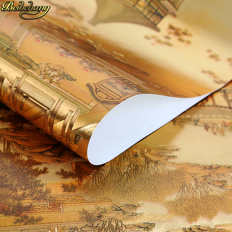 beibehang papel de parede 3D Chinese landscape gold foil wallpaper for wall paper roll golden KTV bar TV background living room 3d bookshelf wallpaper rolls for study room of american vintage chinese style background 3d wall paper papel de parede