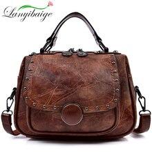 Fashion Rivet Vintage Female Handbag Quality Leather Messenger Bag Women Shoulder Bag Larger Capacity Top Handle Bags Travel Bag