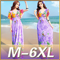 Plus size 6XL Women Sexy Loose maxi dresses Summer 2015 V Neck  floral print long Dress Recreational short sleeve Beach dress