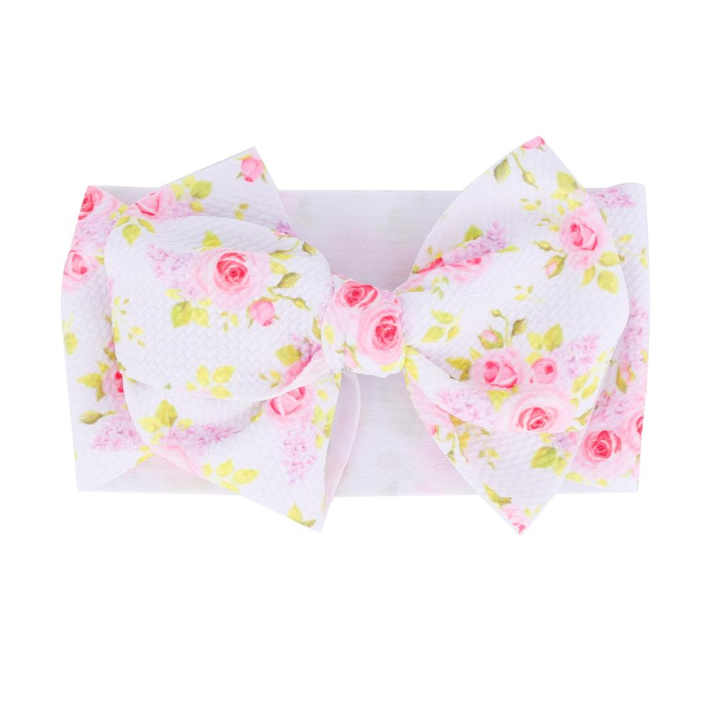 2019 Large 7inch Floral Print Bows Girls Headband Oversized Bowknot Headwrap Kids Cotton Adjustable Turban Headbands 24pc/lot