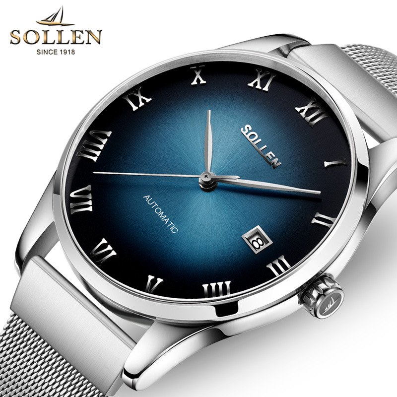 цена New Automatic Watches SOLLEN Luxury Men Gradient color Mechanical Watch Clock Stainless Steel Casual Wristwatch relojes hombre
