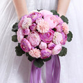 Artifical Peony Ramos De Novia Wedding Bouquet for Bridesmaid and Bridal Acessory Elegant Lavender Bridal Bouquets