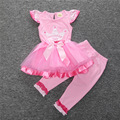 Fashion children tutu tops and leggings pants baby kids suits 2 pcs suit ret birthday outfit
