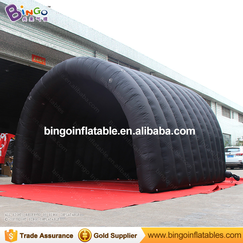 Free Delivery Arc shaped type Black Inflatable Stage Cover Tent 4x4x3M nylon cloth tunnel tent for toy tents black inflatable tunnel 4 4 3m tunnel tent stage tent for children giant inflatable stage cover for sale toys tents