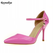 Plus Size 33-43 Ladies 7cm High Heel Patent Leather Sandals Pointed Toe Sexy Wedding Women Ankle Strap Shoes XZL-B0011