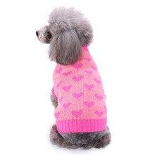 Рождественская домашняя собака одежда Зимний удобный теплый свитер с надписью «Love» пальто костюм Одежда для маленьких средних и больших домашних животных