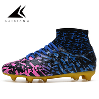 Professional Men S Outdoor Soccer Cleats Shoes High Top FG Football Boots Ankle Training Sports Sneakers