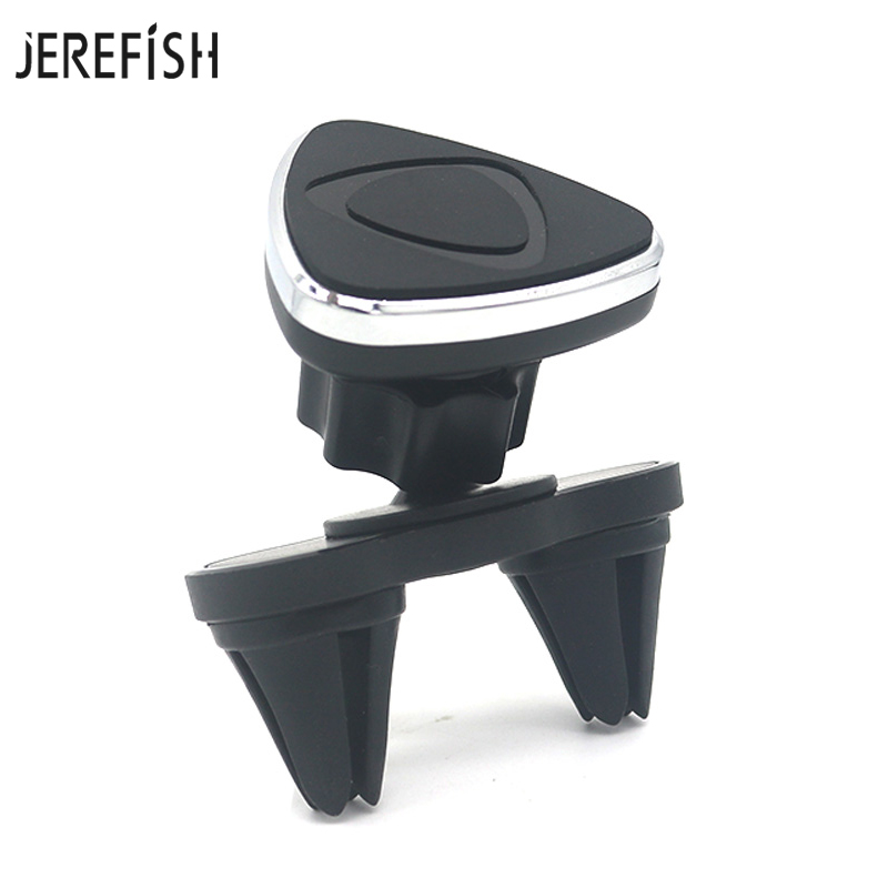 JEREFISH Super Magnetic Car Phone Holder With Dual Clip Magnet Air Vent Mount Smartphone Stand In Car GPS For IPhone Holder