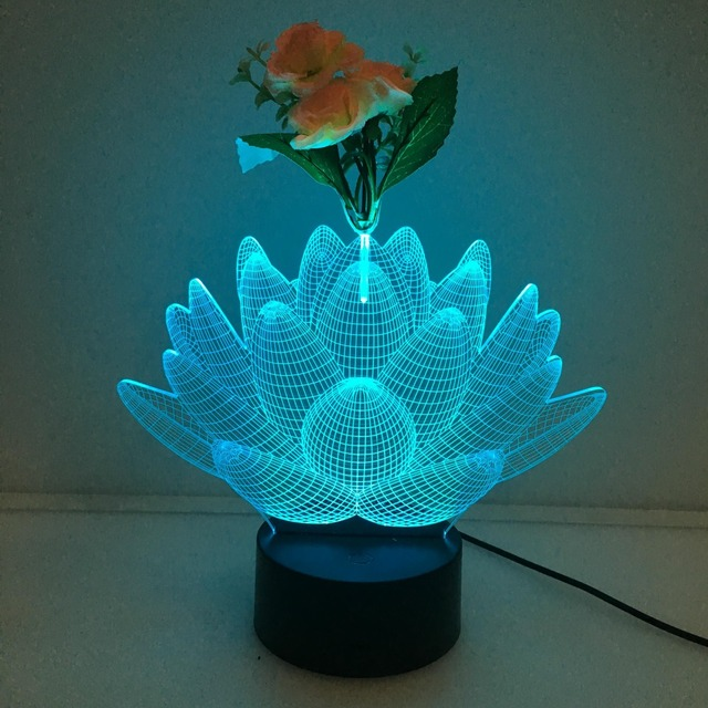 Lovely Naughty 3d Colorful Lotus Flower Led Table Lamp With Usb
