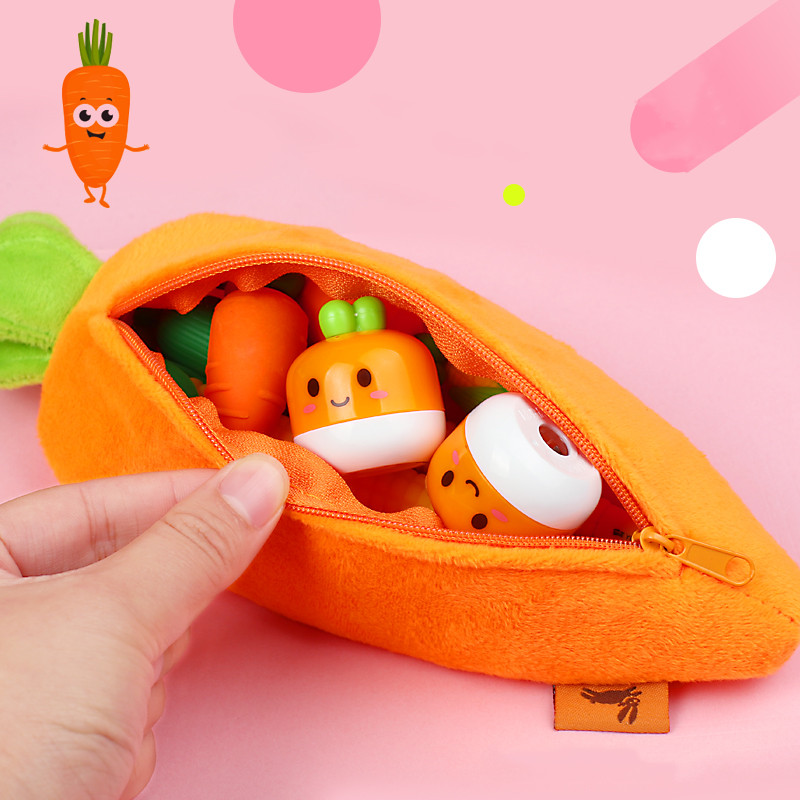 Carrot Pencil Bag Female Simple Stationery Pencil Box Primary School Students Creative Cute Plush Silicone Bag Stationery Set