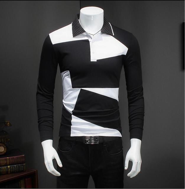 Новое Прибытие Сплошной Цвет Поло Рубашки Мужчин 2016 Мода Стенд Ошейник С Длинным Рукавом Рубашки Поло Случайные новый дизайн