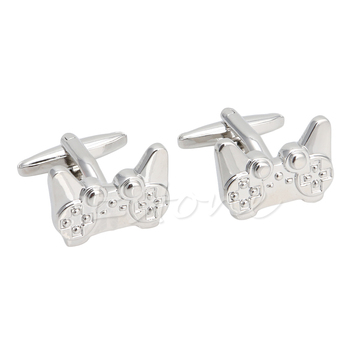 1Pair Men's Stainless Steel Cufflink Silver Game Consoles Handle Cuff Links Hot