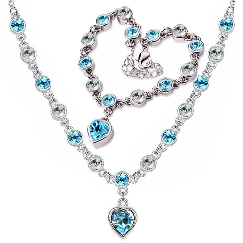 2017 New Sweet romantic Female Star string connection Heart bracelet necklace blue wedding for women african fine Jewelry set