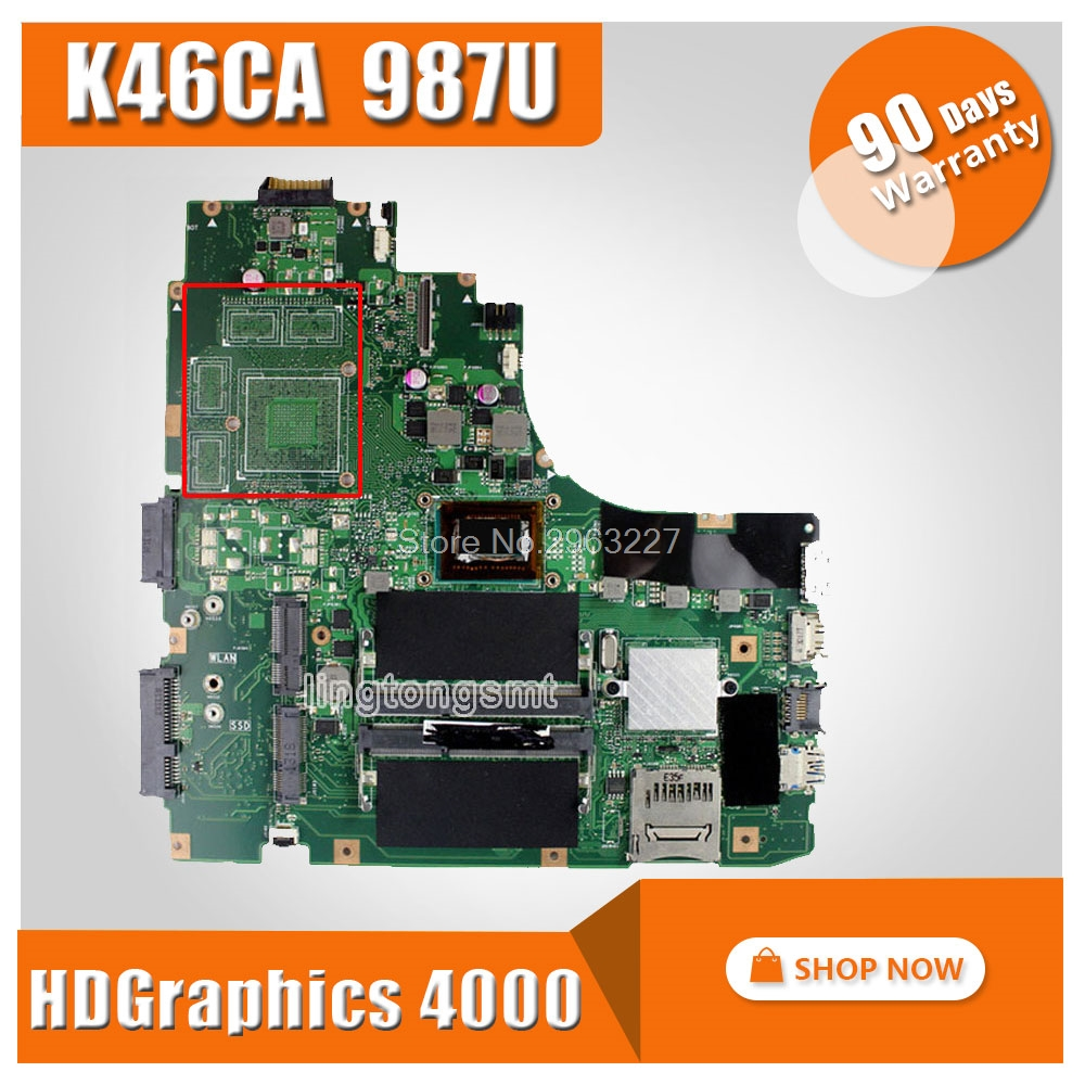 все цены на For ASUS K46CA Laptop motherboard Mainboard K46CM A46C REV2.0 Integrated with cpu 987u on board 100% Tested