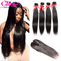 Light/Dark Brown Straight Virgin Hair With Closure Peruvian Hair With Closure 4Bundles And Closure 4*4 Lace Closure With Bundles