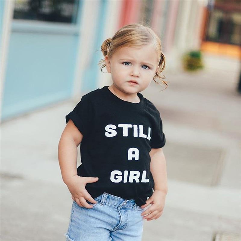 T-Shirt-Tops Sweat-Absorbing Black Baby-Girls Boys Kids Fashion Children's Summer Casual