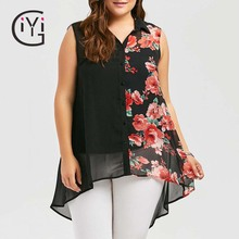 Plus Size 5XL Sleeveless Floral Print Chiffon Blouse Shirt