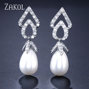 ZAKOL Vintage Sliver Color Flower Simulated Pearls Drop Earrings Zircon Bridal Jewelry For Wedding FSEP122
