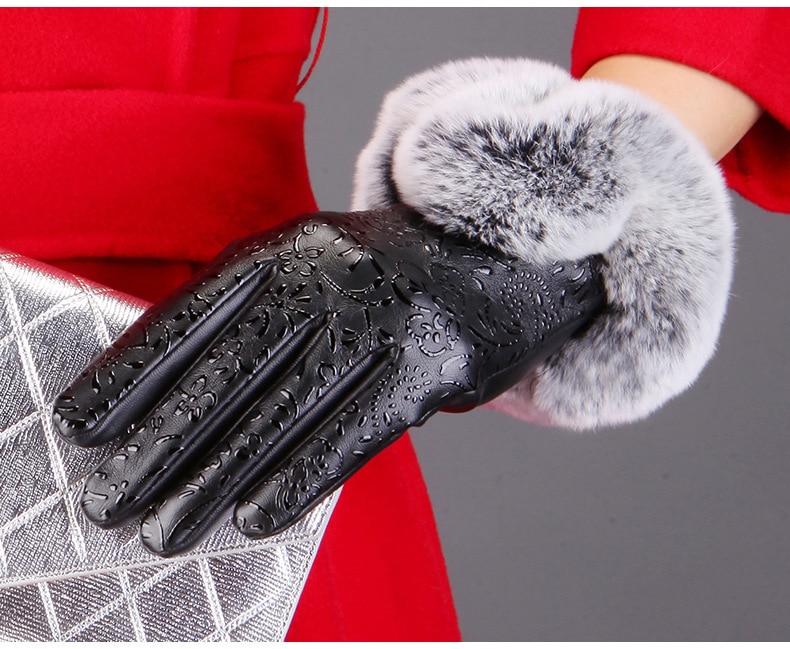 Winter handschuhe 2018 Frauen Pu-leder-handschuhe touchscreen kaninchenfell Warme Fingerless handschuhe für frau Gants Femme Luva