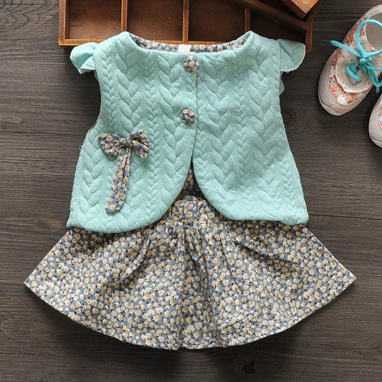 Baby Meisjeskleding Lente Dames Baby Bloemen Vest Jurk Sjaal + - Kinderkleding